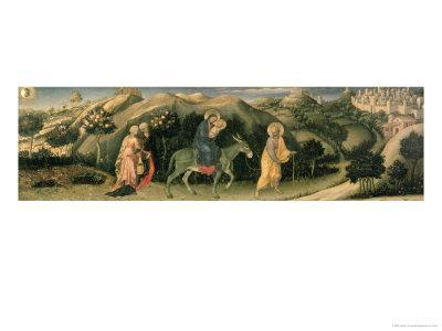 Adoration of the Magi Altarpiece; Central Predella Panel Depicting the Flight into Egypt, 1423