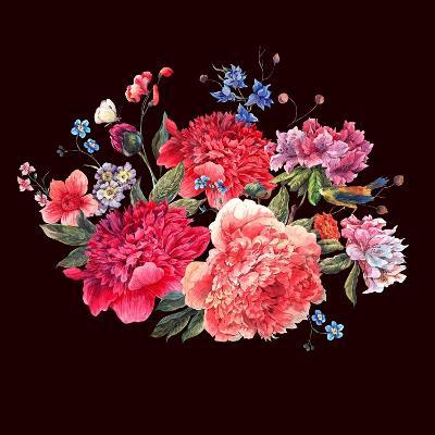 Gentle Decoration Vintage Floral Greeting Card with Blooming Red Peonies Bird and Wild Flowers Wate-Varvara Kurakina-Art Print