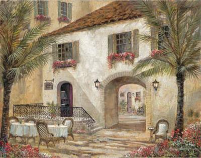 Gentle Palms and Wine-Ruane Manning-Art Print