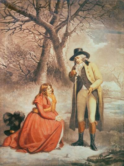 Gentleman and Woman in a Wintry Scene-George Morland-Giclee Print