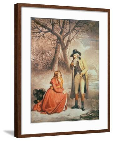 Gentleman and Woman in a Wintry Scene-George Morland-Framed Giclee Print