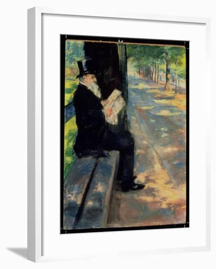 Gentleman in a Zoo, C.1900-Lesser Ury-Framed Giclee Print