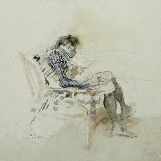 Gentleman Seated in an Armchair Reading a Book and Smoking a Pipe-Giovanni Boldini-Giclee Print