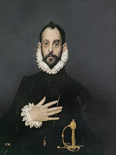 Gentleman with His Hand on His Chest, C.1580-El Greco-Giclee Print
