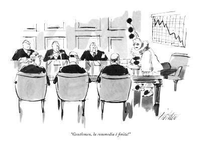 """""""Gentlemen, la commedia ? finita!"""" - New Yorker Cartoon-Mischa Richter-Premium Giclee Print"""