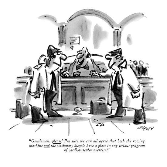 """""""Gentlemen, please! I'm sure we can all agree that both the rowing machine?"""" - New Yorker Cartoon-Lee Lorenz-Premium Giclee Print"""