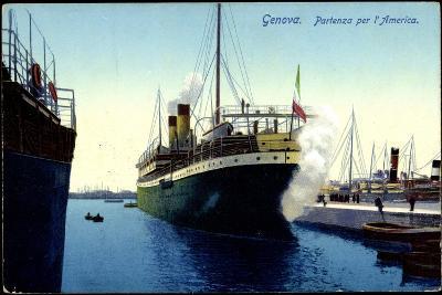 Genua Liguria, Partenza Per L'America, Dampfer, Hafen--Giclee Print