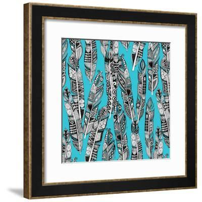 Geo Feathers Turquoise Blue-Sharon Turner-Framed Art Print