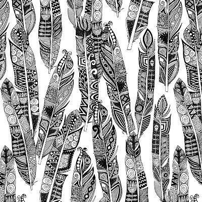 Geo Feathers (Variant 1)-Sharon Turner-Art Print