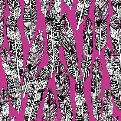Geo Feathers (Variant 2)-Sharon Turner-Art Print