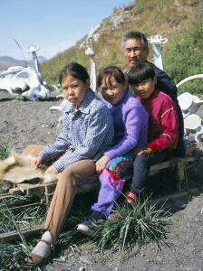 Eskimos, Sledge and Whale Bones at Yanrakino Village, Chukchi Peninsula, Russian Far East, Russia by Geoff Renner
