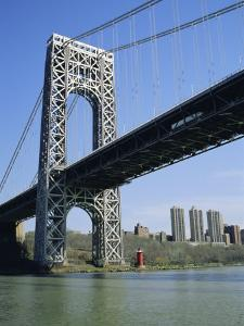 George Washington Bridge and Little Red Lighthouse, New York, USA by Geoff Renner