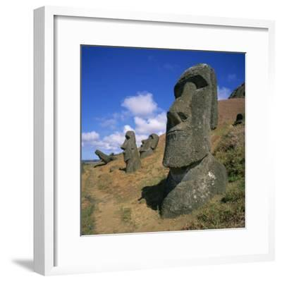 Moai Statues Carved from Crater Walls, Easter Island, Chile