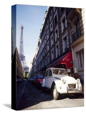 Parked Citroen on Rue De Monttessuy, with the Eiffel Tower Behind, Paris, France