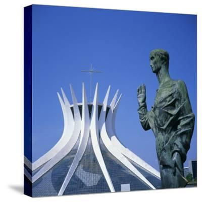 Statue before the Catedral Metropolitana, Brasilia, UNESCO World Heritage Site, Brazil