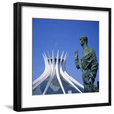 Statue before the Catedral Metropolitana, Brasilia, UNESCO World Heritage Site, Brazil