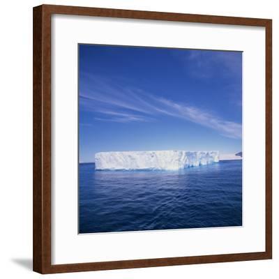 Tabular Iceberg in Blue Sea in Antarctica, Polar Regions