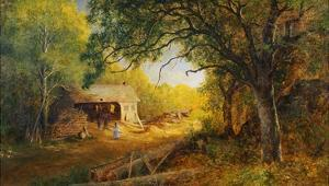 19th-Century American Painting of a Rural Scene with a Wood Mill by Geoffrey Clements