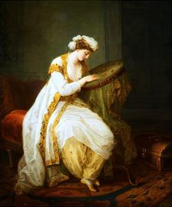 A Woman at Needlepoint by Angelica Kauffmann by Geoffrey Clements