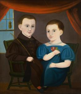 American Naive Portrait of a Boy and a Girl by Geoffrey Clements