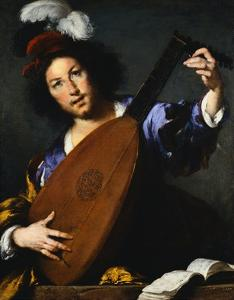 Italian Baroque Painting of Lute Player by Geoffrey Clements