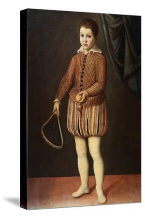 Italian Baroque Portrait of Boy with Racquet and Ball