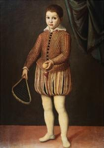 Italian Baroque Portrait of Boy with Racquet and Ball by Geoffrey Clements