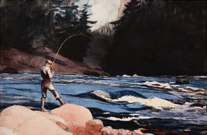 Man Fishing a New England Stream by Winslow Homer by Geoffrey Clements