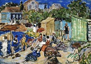 Painting of a Beach Scene by Maurice Brazil Prendergast by Geoffrey Clements