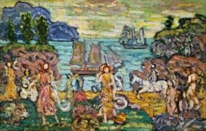 Painting of a Seaside Scene by Maurice Prendergast by Geoffrey Clements