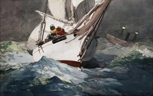 Reefing Sails Around Diamond Shoals, Cape Hatteras by Winslow Homer by Geoffrey Clements