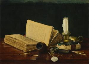 Still Life with Book and Pipe by Claude Raguet Hirst by Geoffrey Clements