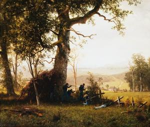Union Soldiers Fighting in the Field by Albert Bierstadt by Geoffrey Clements