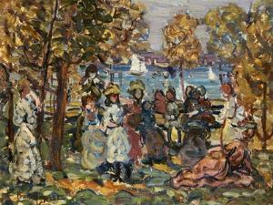 Waterside Park Scene by Maurice Brazil Prendergast by Geoffrey Clements