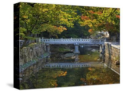 Bridge and Stonework over and Along a Stream in Autumn, Tongdo Temple Grounds, South Korea