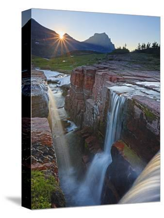 Dawn at Triple Falls, Glacier National Park, Wyoming, USA