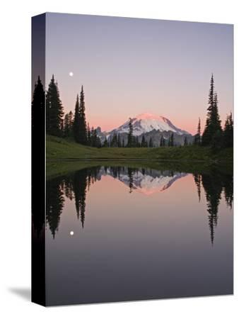 Reflection of Mount Rainier in Upper Tipsoo Lake in Chinook Pass and the Setting Moon at Sunrise