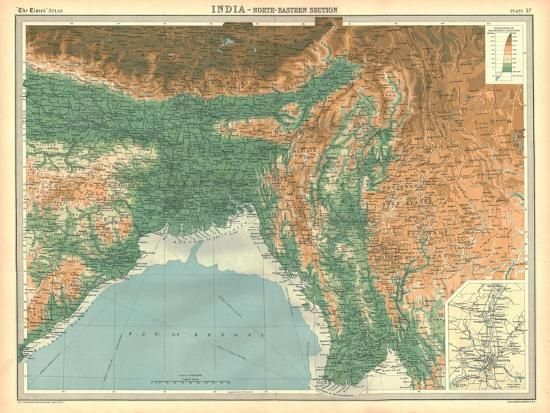Geographical map of the north-eastern section of India, early 20th century-Unknown-Giclee Print