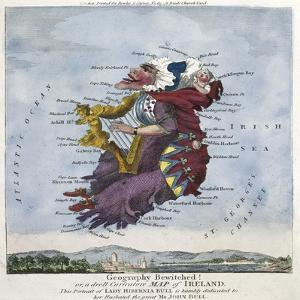 Geography Bewitched!, Droll Caricature Map of Ireland, ca.1796