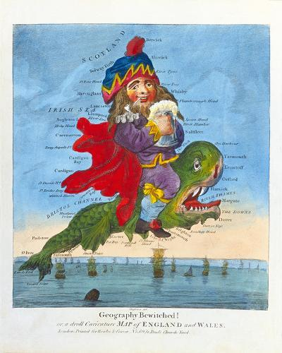 Geography Bewitched! or, a Droll Caricature Map of England and Wales, c1793- Bowles and Carver-Premium Giclee Print
