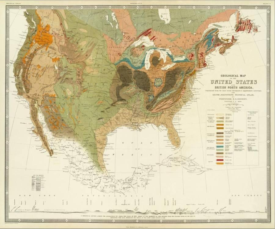 Geological Map of the United States, c.1856 Stretched Canvas Print by ...