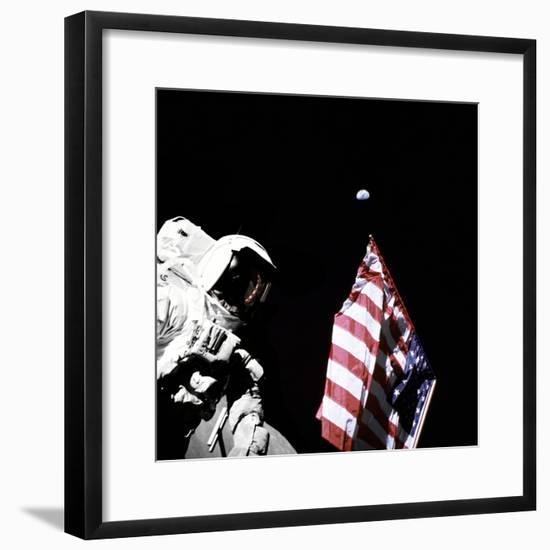 Geologist-Astronaut Harrison Schmitt, Apollo 17 Lunar Module Pilot--Framed Photo