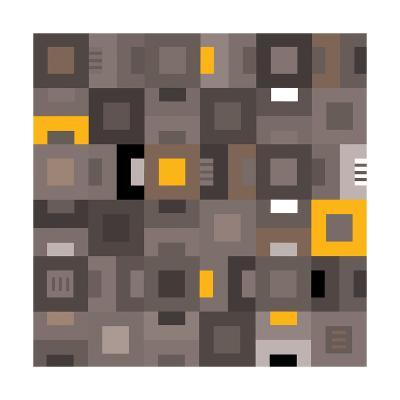 Geometric Abstract City Squares in Grey and Yellow-Robin Pickens-Art Print