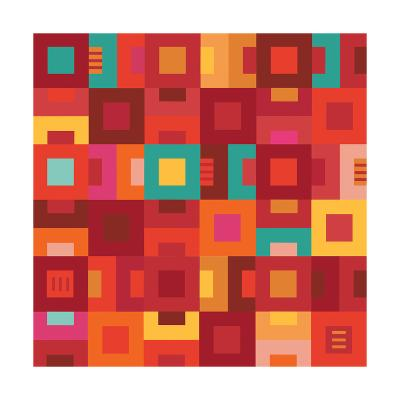 Geometric Abstract City Squares in Mesa Red Rust and Orange-Robin Pickens-Art Print