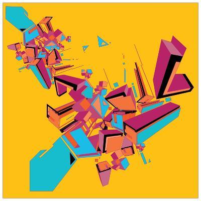 Geometric Design Abstract Background for Poster- singpentinkhappy-Art Print