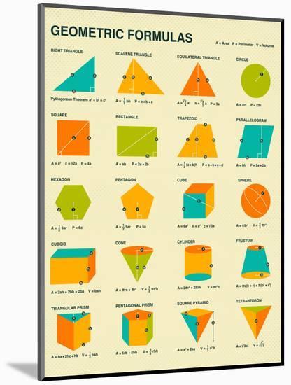 Geometric Formulas-Jazzberry Blue-Mounted Art Print