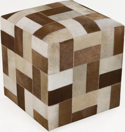 Geometric Leather Cube Pouf - Brown