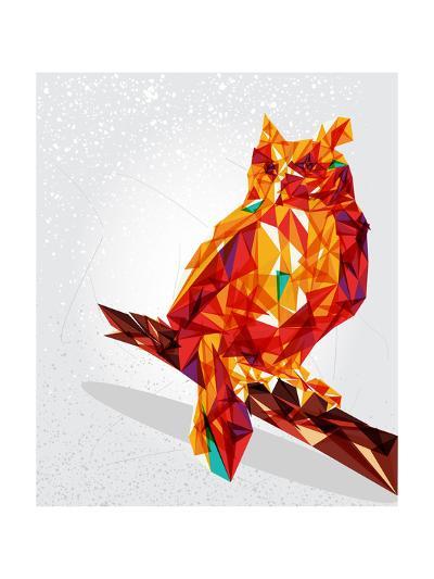 Geometric Owl Illustration-cienpies-Art Print