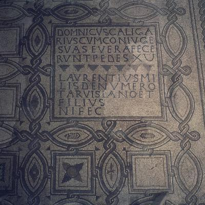 Geometric Patterns and Inscriptions, Mosaic Floor, Basilica of St Euphemia, Grado, Italy--Giclee Print