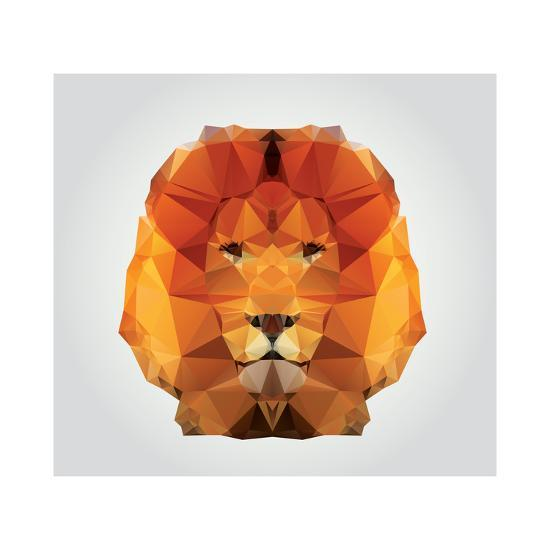 Geometric Polygon Lion Head Triangle Pattern Vector IllustrationBy BlueLela